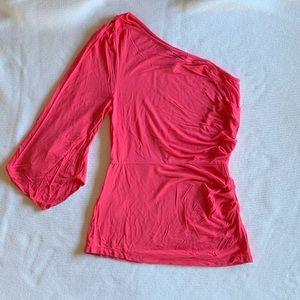 BCBGMAXAZRIA Pink One Shoulder Sleeve Blouse